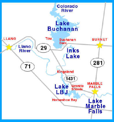 TEXAS HIGHLAND LAKES Tourist Information The Highland Lakes - Texas rivers and lakes map