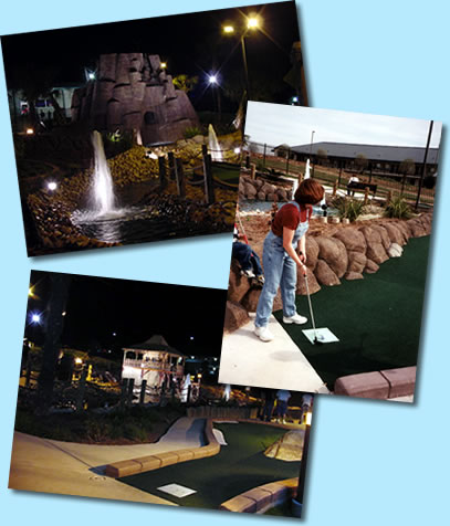 Miniature golf course, Miniature bowling lanes, Arcade and more at Rockhopper's in Marble Falls, Texas